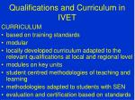 qualifications and curriculum in ivet5