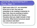 journal 5 remembering 9 11 thurs sept 11