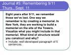 journal 5 remembering 9 11 thurs sept 111
