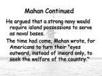 mahan continued