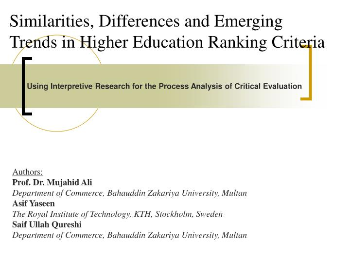 similarities differences and emerging trends in higher education ranking criteria n.