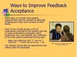 ways to improve feedback acceptance