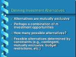 defining investment alternatives