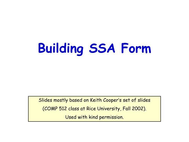 building ssa form n.