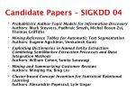 candidate papers sigkdd 04
