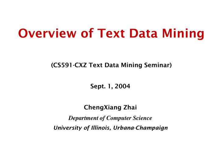 overview of text data mining n.