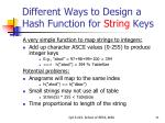 different ways to design a hash function for string keys