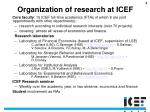 organization of research at icef