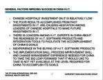 general factors impeding success in china h i t