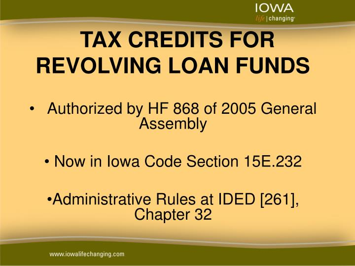 tax credits for revolving loan funds n.