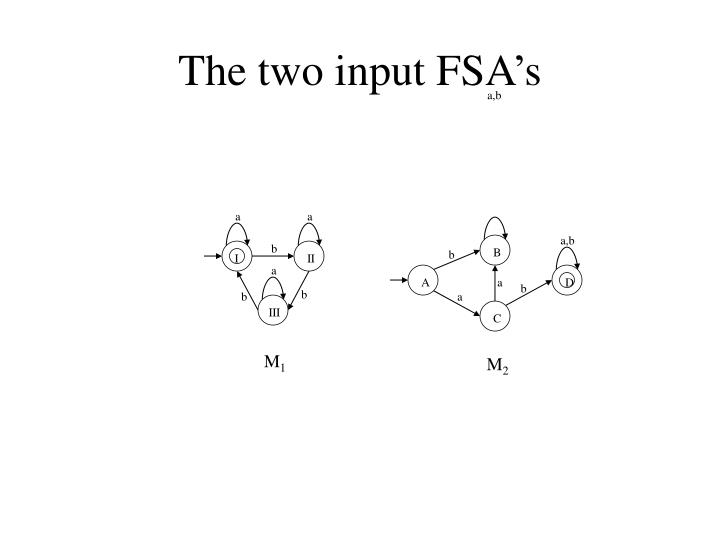 The two input fsa s