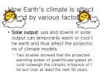 how earth s climate is affected by various factors