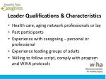 leader qualifications characteristics