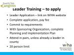 leader training to apply