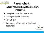 researched study results show the program improves