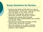 essay questions for review