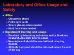 laboratory and office usage and safety