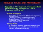 project titles and participants