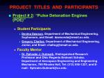 project titles and participants1
