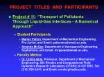 project titles and participants10