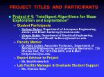project titles and participants3