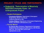 project titles and participants7