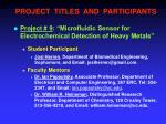 project titles and participants8