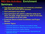 reu site activities enrichment seminars