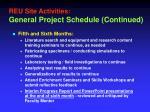 reu site activities general project schedule continued1