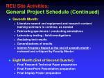 reu site activities general project schedule continued2