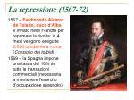 la repressione 1567 72