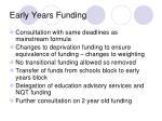 early years funding