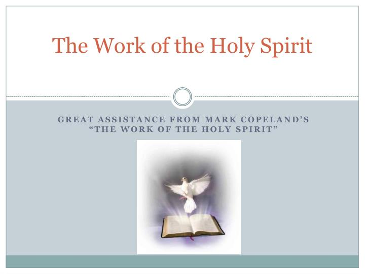 the work of the holy spirit n.