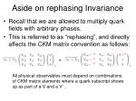 aside on rephasing invariance