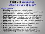 product categories which do you choose