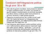condizioni dell integrazione politica fra gli anni 30 e 80