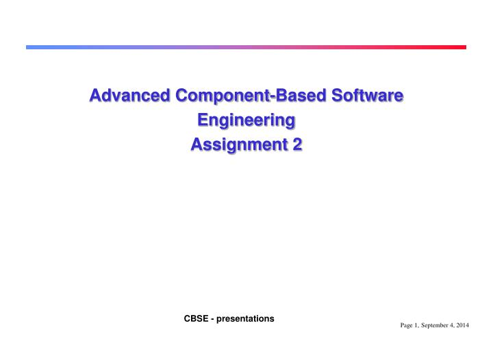 advanced component based software engineering assignment 2 n.