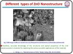 different types of zno nanostructure