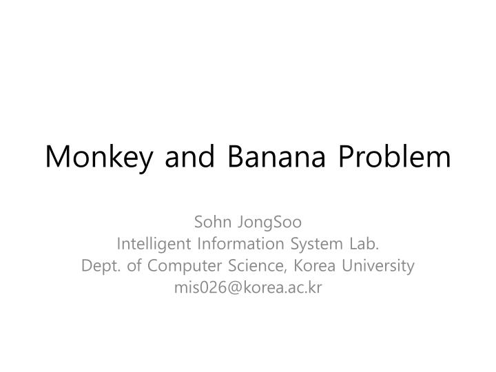 monkey and banana problem n.