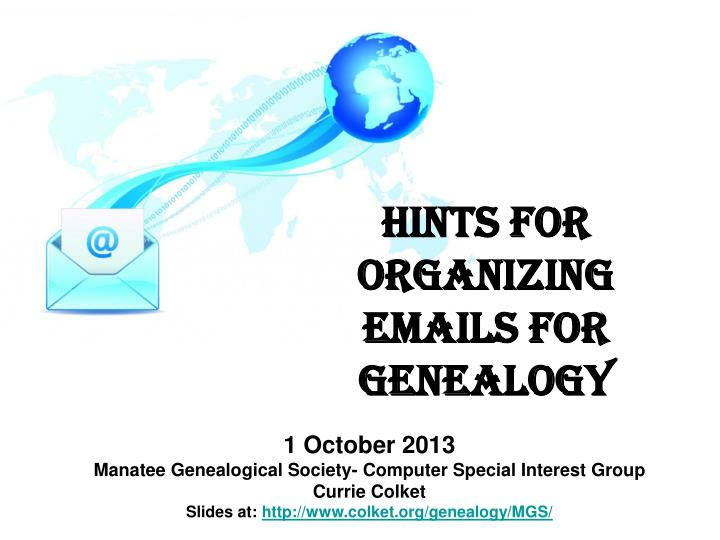 hints for organizing emails for genealogy n.