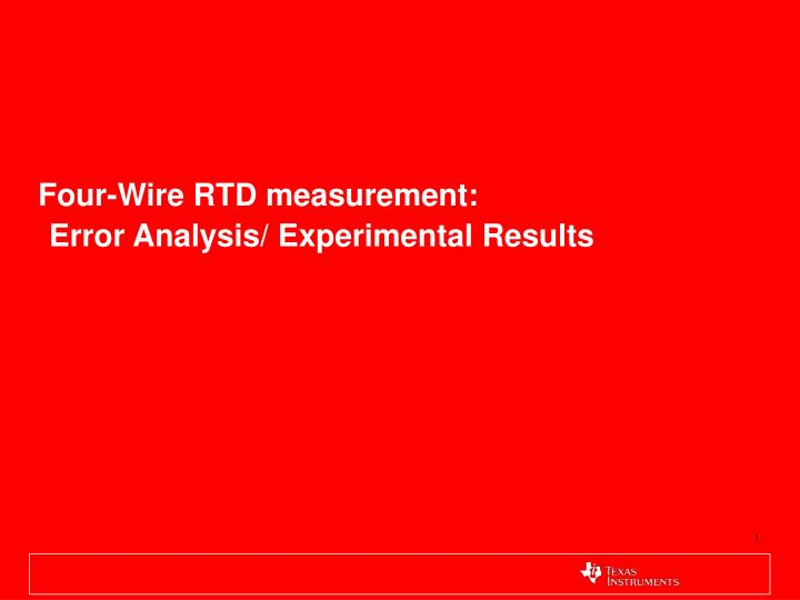 four wire rtd measurement error analysis experimental results n.