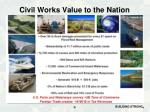 civil works value to the nation