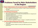 problems faced by main stakeholders in the region