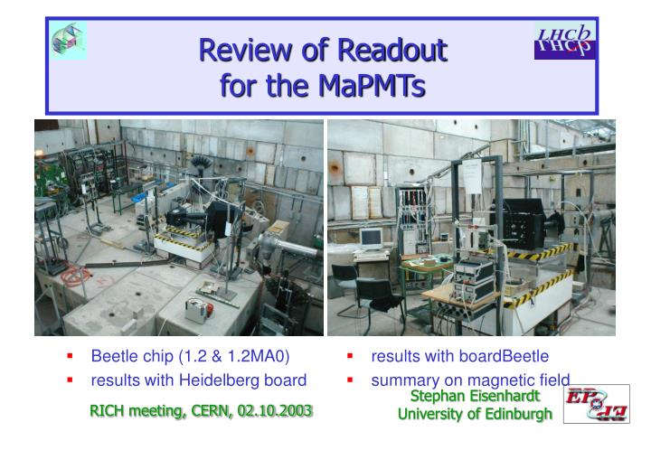 review of readout for the mapmts n.