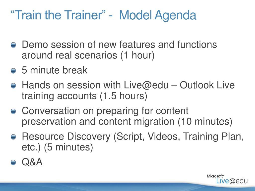 ppt train the trainer model agenda powerpoint presentation