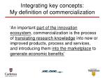 integrating key concepts my definition of commercialization