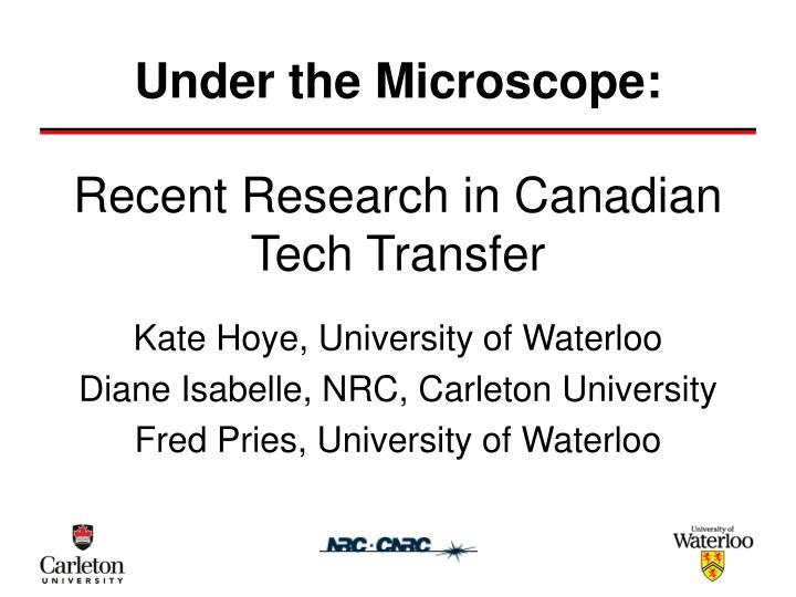 recent research in canadian tech transfer n.