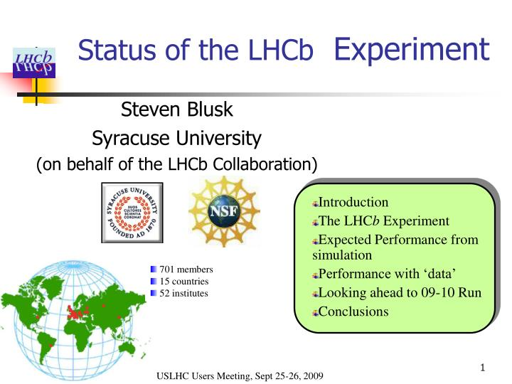 status of the lhcb experiment n.