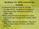 guidance for ghg inventories evolves
