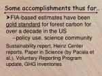 some accomplishments thus far